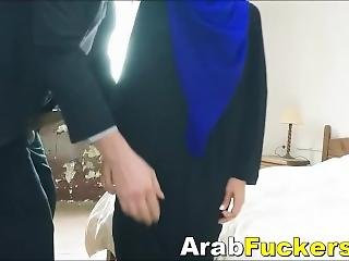 Timid Arab Refugee Takes Money For Fucking Fat Cock