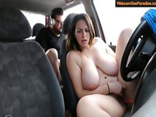 Woman With Big Funbags Masturbates In A Car