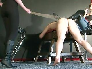 Mistress Jo & Friend Whip And Kick Slave Pt1