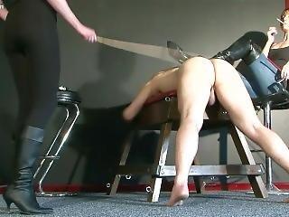 Mistress Jo & Friend Whip And Kick Slave Pt1