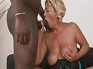 Sarah Is A Blonde Granny That Never Had A Big Black Cock Before