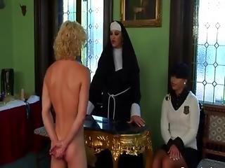Hot religious dominas torment loser