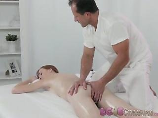 Cream, Creampie, Freckled, Innocent, Massage, Redhead, Squirt, Table Fuck
