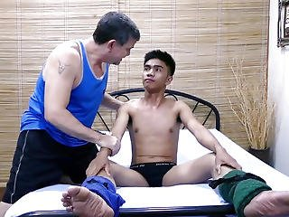 Restrained Pinoy Twink Tickled By Dad