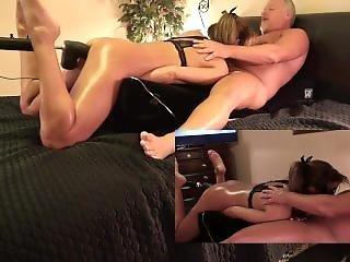 Hot Wife Has 3 Way- Husband And Thick Black Dildo Fuck Machine - Pip Vid