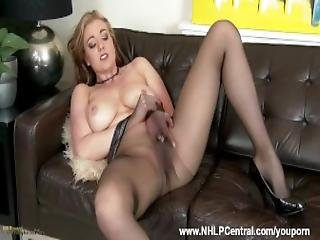 Sexy Blonde Milf Sapphire Blue In Seamless Sheer Black Pantyhose With Long Nylon Encased Legs Strips Teases Toys