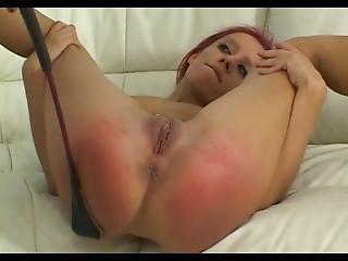 Skinny Redhead Stripped Nude Exposing Spread Spanked Hard
