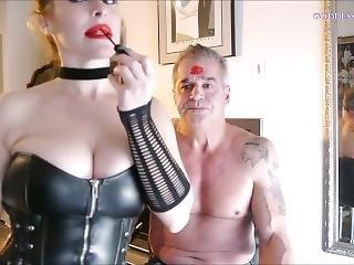 Blonde Bimbo Covering Guy Lipstick Kisses