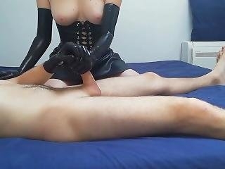 My Girlfriend Jerks My Dick With Latex Gloves, I Cum On Her Big Tits