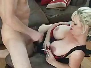 Hot Busty Cougar In High Heels Smoking And Banging