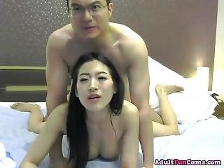 Sexy Asian Cutie With Big Eyes Sucks Dick And Gets Fucked On The Bed