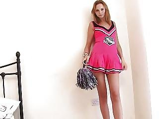 Hot Cheerleader Strips And Touches Herself In Her Room
