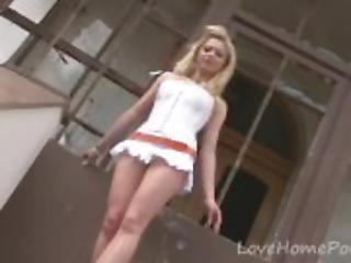amatör, blondin, klänning, hem, hemmagjord, vit