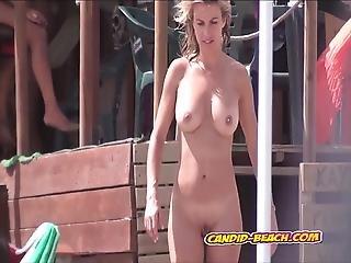 Strand, Clitoris, Milf, Nudist, Offentlig, Overvåger, Voyeur, Hustru