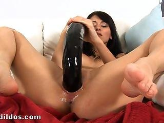 Tiny Vickie Shoves A Long Scary Black Snake Dildo Deep In Her Pussy In Hd