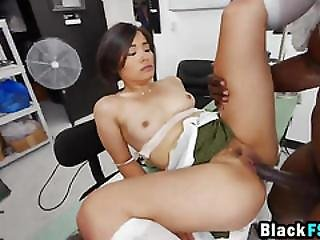 Tiny Asian Pussy Gets Drilled By Massive Black Cock