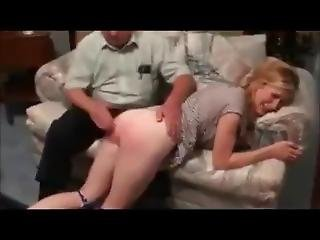 Stepdaughter Spanked By Old Daddy