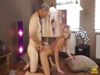 Old4k Chick Celebrates Passing Exams By Having Sex With Old Dad