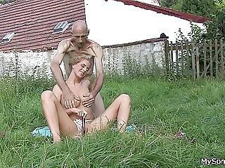 Older Man Eats Sons Gf Pussy In The Fields