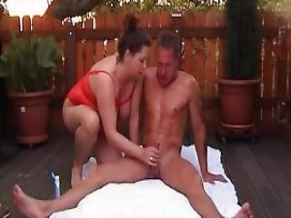 Chubby Dilettant Mumsy Anal Fuck In The Backyard