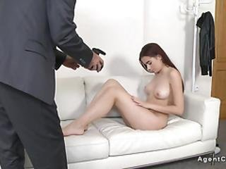 Fake Agent In Suiet Bangs Naked Model