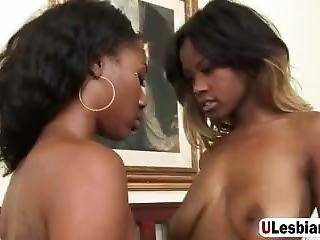 Strap-on Fucking With Two Hot Ebony Lesbians