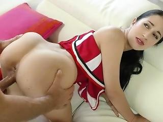 Sexy Ass Teenage Cheerleader And Step Brother Penalizes From Behind