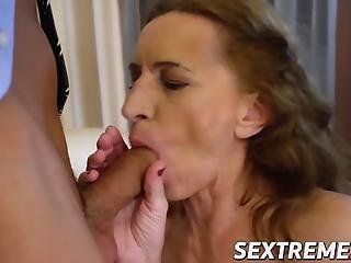 Cum Eating Granny Seduces Younger Stud Into Passionate Sex