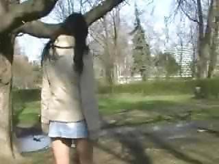 Girl Uses Bottle As Dildo In Public