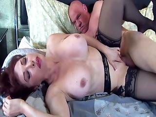 Busty, Fucking, Garter, Lingerie, Mature, Milf, Nylon, Pretty, Redhead, Stocking