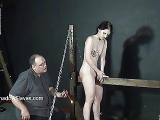 Crying Teen Slave Kamis Wooden Device Bondage And Electro Bd