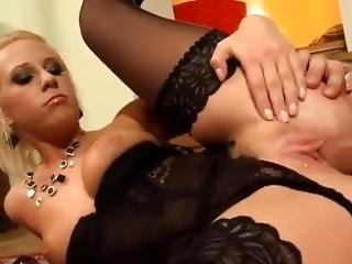 Beautiful Blonde Fucked In Sheer Black Nylons