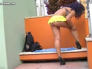 Nikki Brazil Short Skirt Up Skirt Dare!