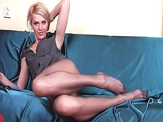 Skinny Babe With Long Pantyhose Legs