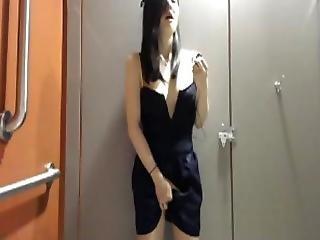 Asiatique, Japonaise, Masturbation, Publique, Toilettes, Webcam