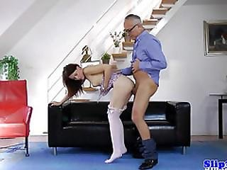 Euro Teen Pussyrubbed Then Rides Old Cock