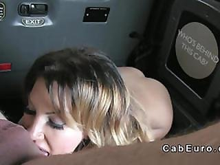 Stunning Blonde Licks Ass To Cab Driver