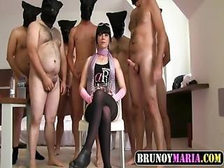 Bukkake De Nina Muy Cerda De Brunoymaria Con 8 Hombres Con Folladas