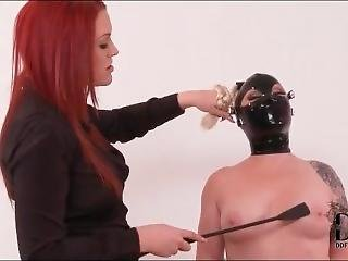 Latex Hood On Submissive Lady