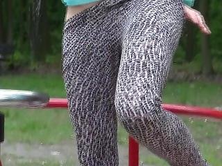 German Babe Pees All Over Playground
