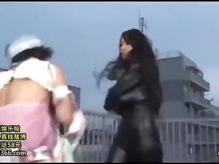 Hitomi Tanaka Black Leather Suit Fight
