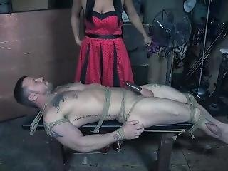 Bound Guy Get Tortured By Dominant Girl