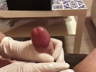 Step Daughter Gives Dad Sloppy Handjob In Doctor Latex Gloves