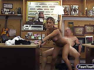 Sexy Amateur Blonde Waitress Pawns Her Pussy And Banged