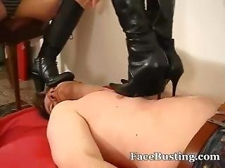 Two Dommes Trampling And Face Crushing In Boots