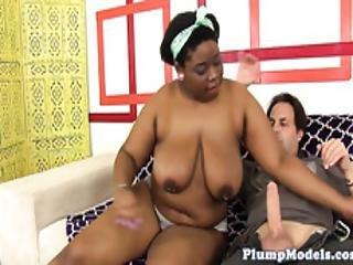 Ebony Plumper Deepthroats A Huge Cock