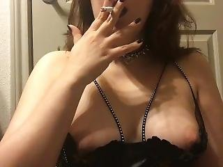 Goth Brunette Babe Smoking In Leather Harness Bra And Collar Perky Tits