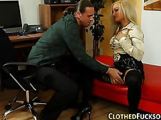 Clothed Whore Gets Fucked