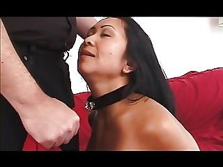 Asian Gal Slave Spanked Hard By A Guy Before Getting A Blowjob