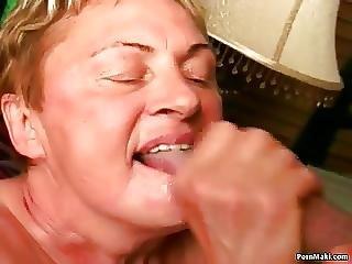 πίπα, Facial, Granny, ώριμη, πεσμένα βυζιά